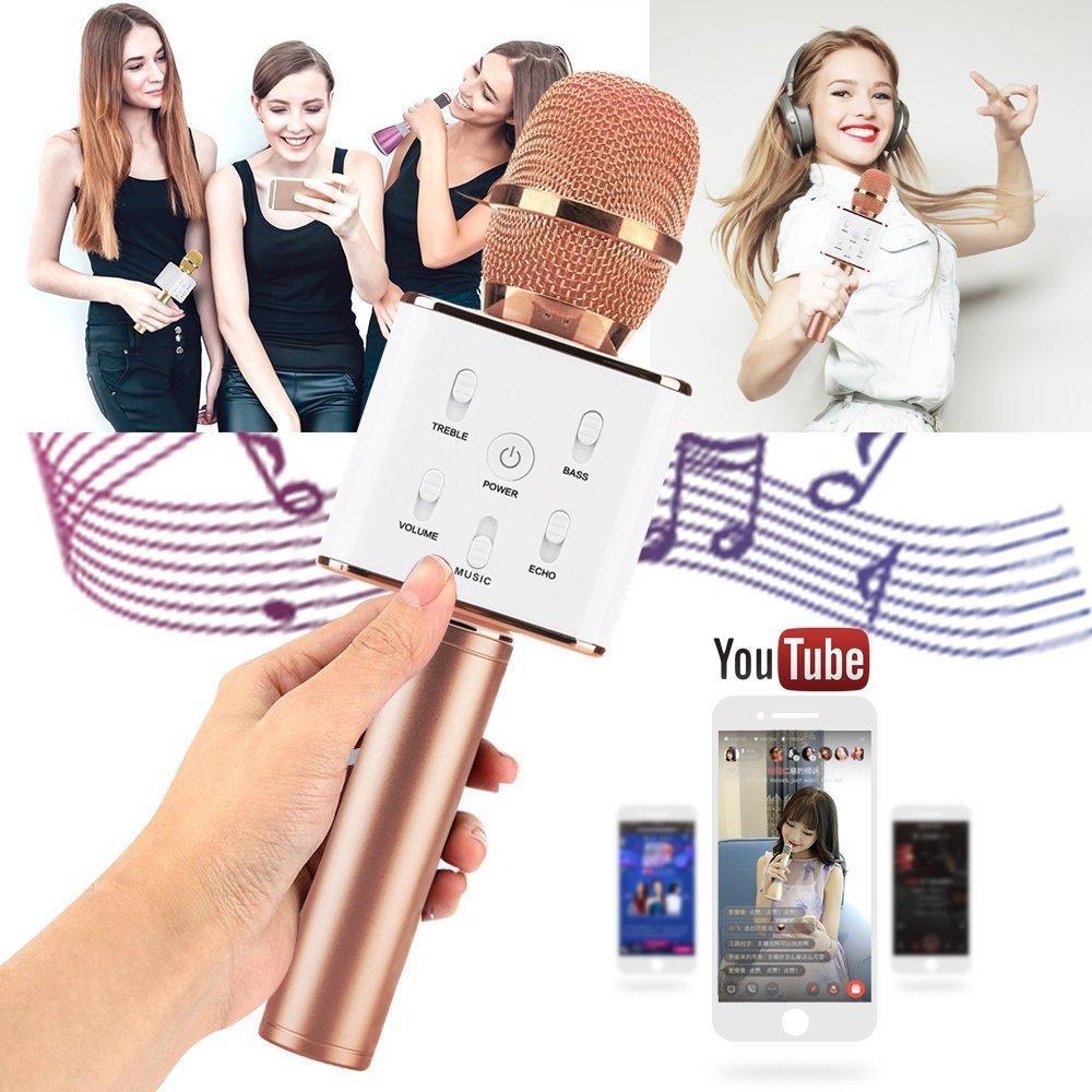 Портативный беспроводной bluetooth микрофон караоке q7