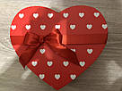 Подарочная бумажная коробка Сердце с лентой 250*200*60 мм, фото 3
