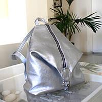 """Женский кожаный рюкзак """"London"""" серебристый флотар, фото 1"""