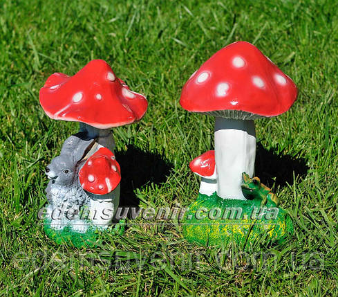 Садовая фигура Мухомор с зайцем и Мухомор с жабкой, фото 2