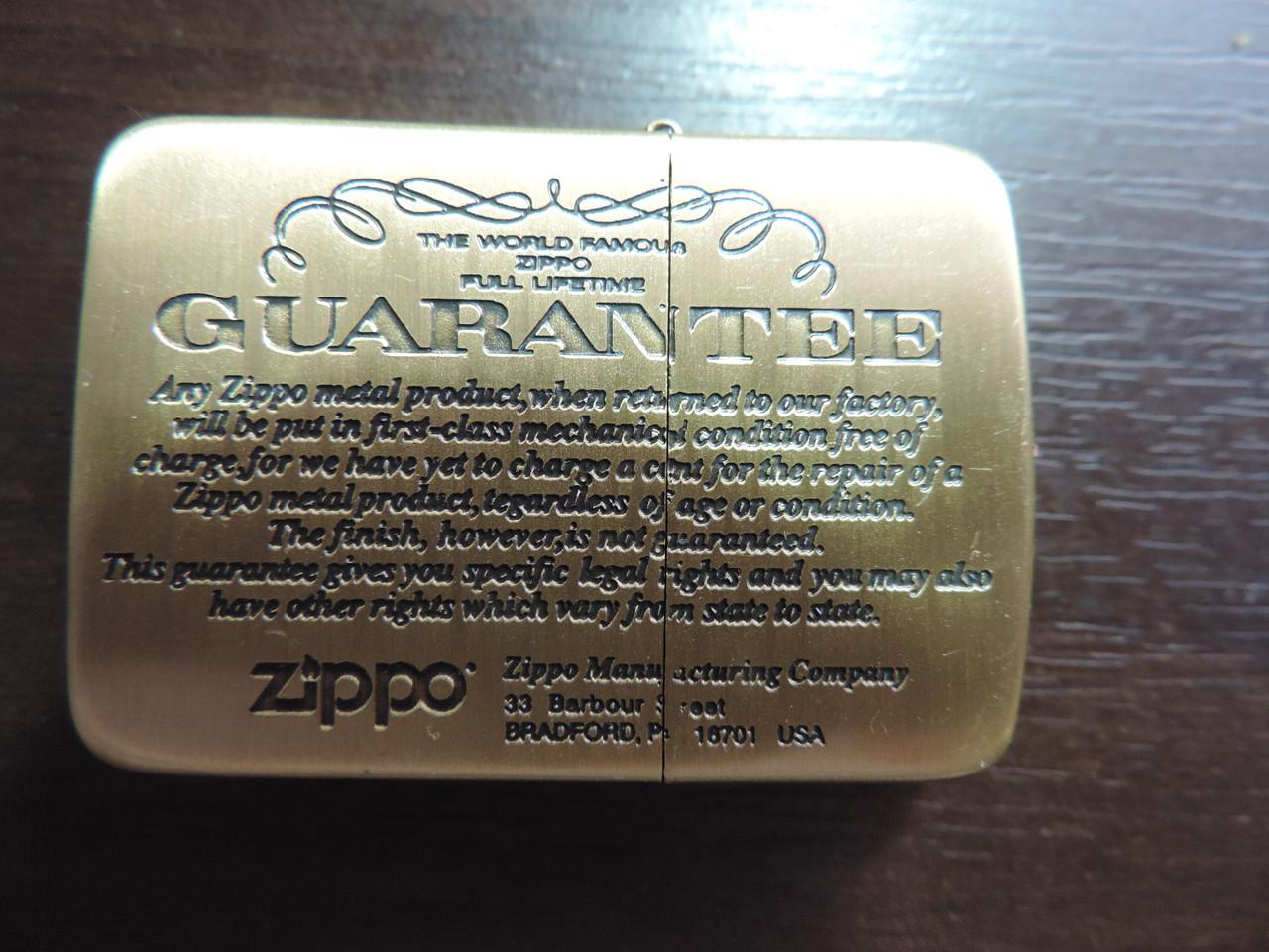 """Зажигалка Zippo """"GUARANTEE"""" копия"""