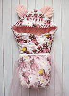 """Демисезонный конверт-одеяло на выписку с плюшем """"Мишки-балерины"""""""