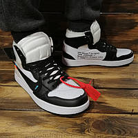 Кроссовки мужские Nike Air Jordan в стиле Найк Аер Джордан, натуральная кожа код DR-00022. Белые с черным
