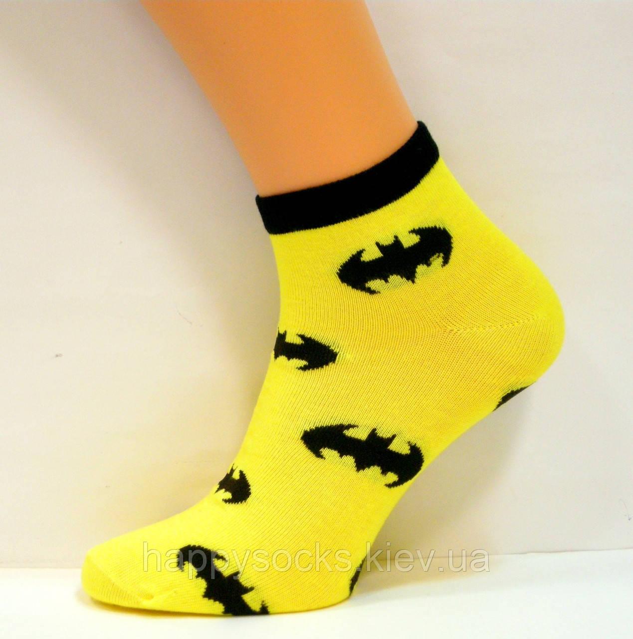 Яркие заниженные носки хлопковые бэтмен