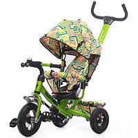 Детский трехколесный НАДУВНЫЕ КОЛЕСА велосипед TILLY Trike Лабиринт T-351-3 Air Зеленый