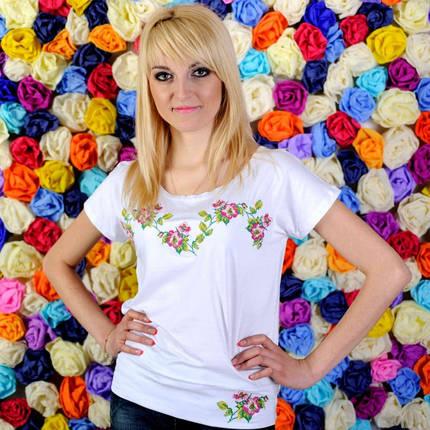 "Женская вышиванка на лето патент ""Яблоневый цвет "" цвет белый до 50 размера, фото 2"