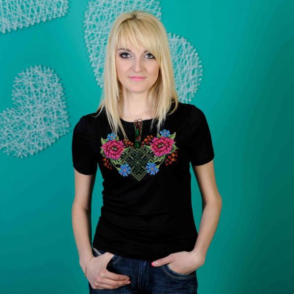 Женская вышиванка на лето короткий рукав Зеленый орнамент до 56 размера
