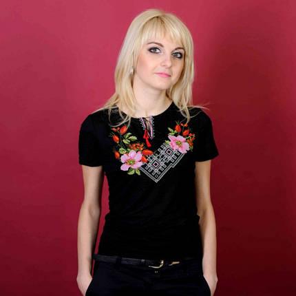 Женская вышиванка короткий рукав Шиповник до 54 размера, фото 2