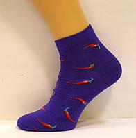 Весёлые заниженные носки хлопковые с перцем чили синего цвета