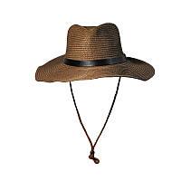 Шляпа ковбойская пляжная унисекс с верёвочкой коричневая опт, фото 1