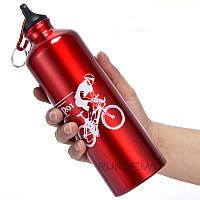 Спортивная бутылка для воды, велобутылка 750 мл,алюминиевая фляга для воды,Велосипедная Фляга алюминиевая Red, фото 1