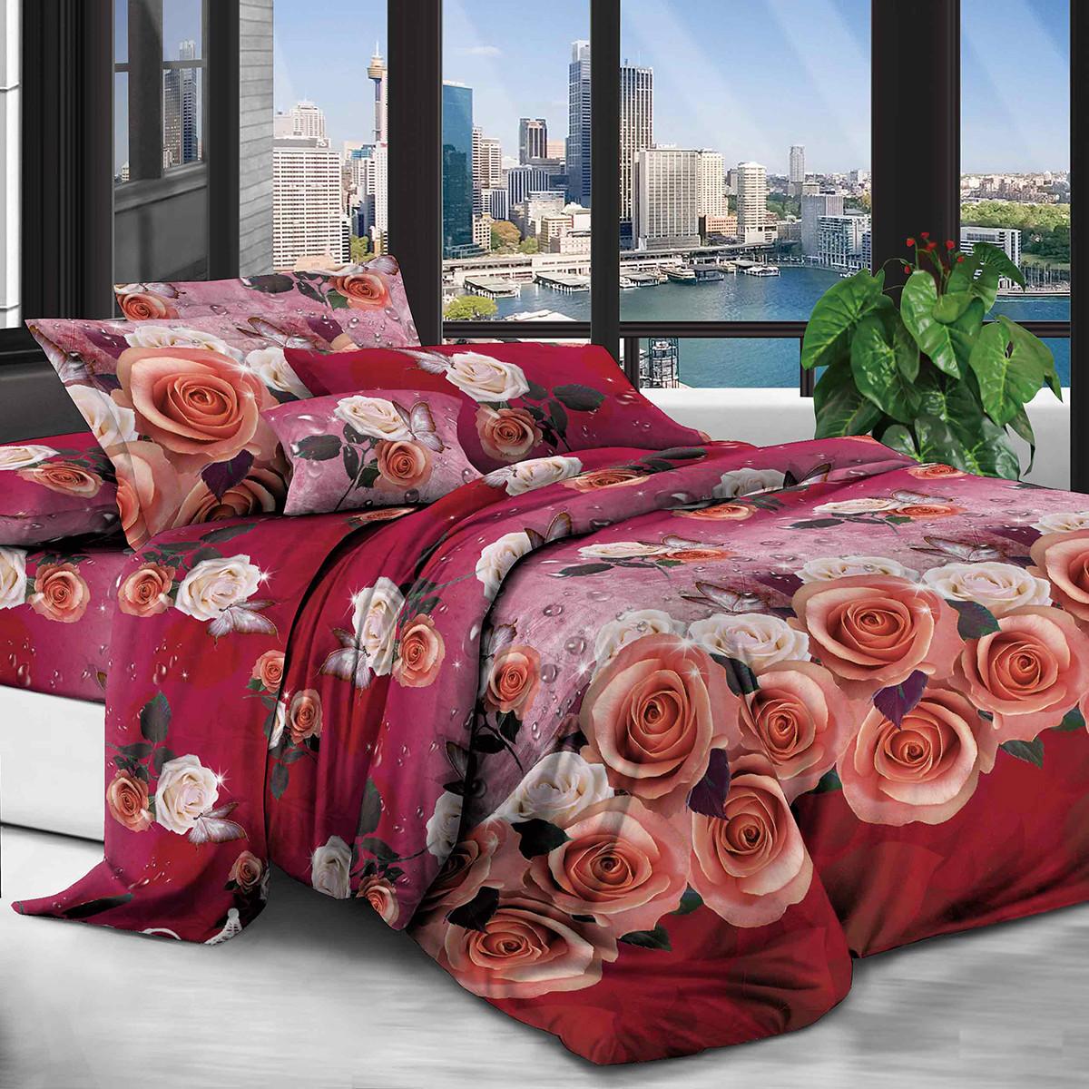 Двуспальный Евро комплект постельного белья (200*220, бязь полиэстер)