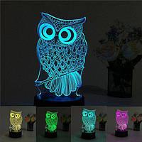 3D светильник Сова светильник-ночник, фото 1