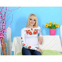 Женская вышиванка длинный рукав Мак большой до 50 размера
