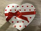 Подарочная бумажная коробка Сердце 250*200*60 мм Белый с лентой, фото 3