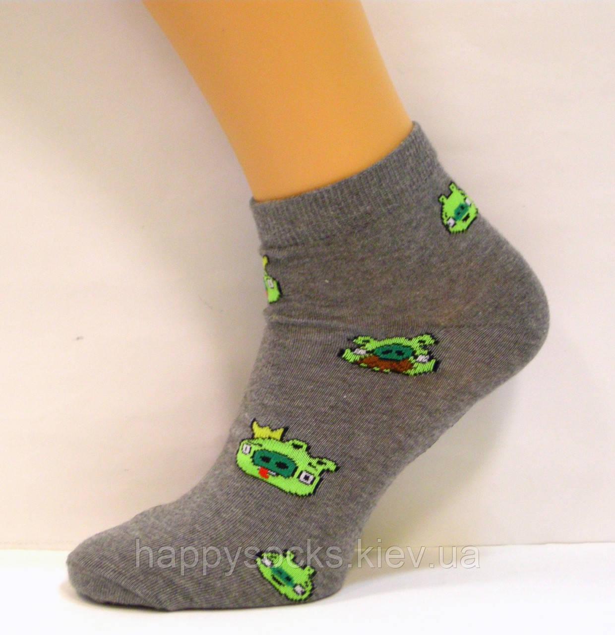 Носки укароченные хлопковые с рисунком свинки
