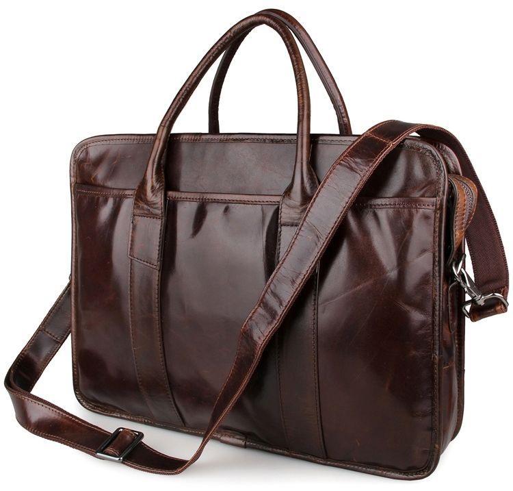 Сумка мужская Vintage из натуральной кожи коричневого цвета 14620