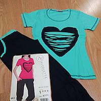 Женская пижама футболка с бриджами на каждый день (размер Хл в розовом  цвете) 31c769e903b77