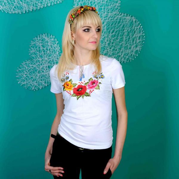 Женская вышиванка короткий рукав Мак цветной  до 56 размера
