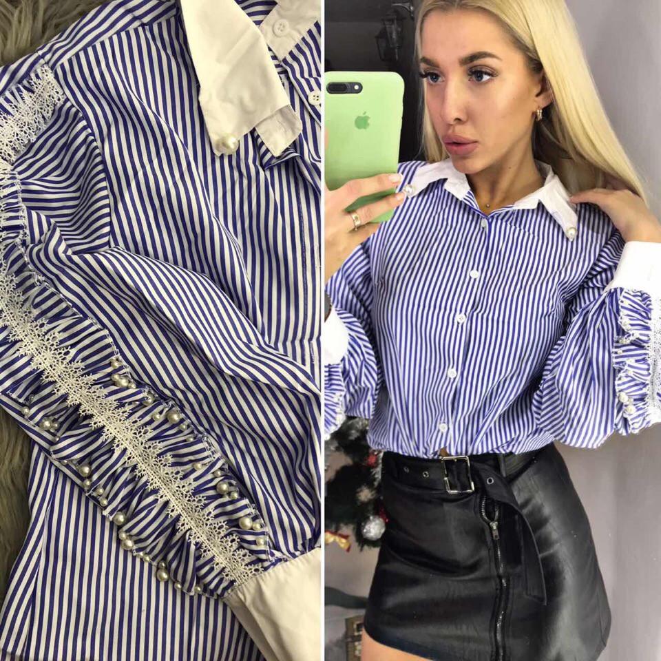64508d27ea79e88 Женская рубашка в полоску с рюшами и жемчужинами - купить по лучшей ...