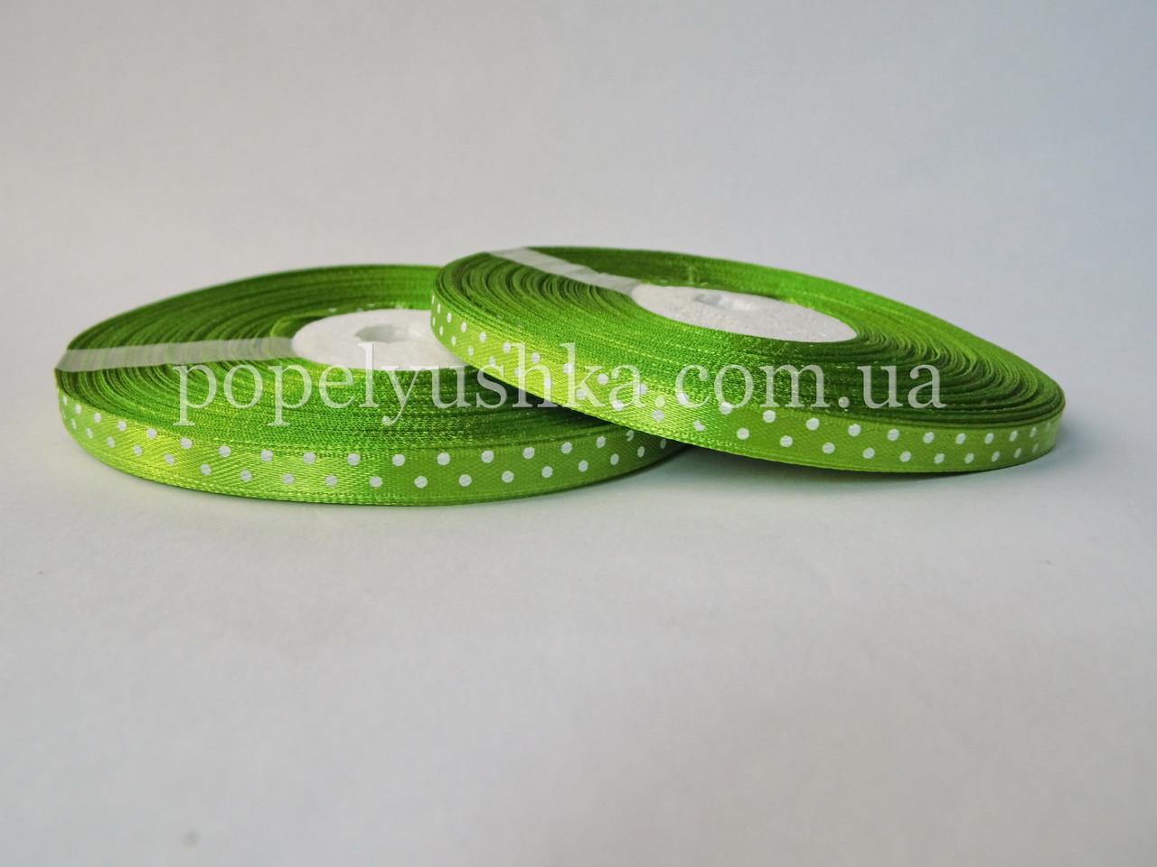 Стрічка горох 0,6 см оливкова