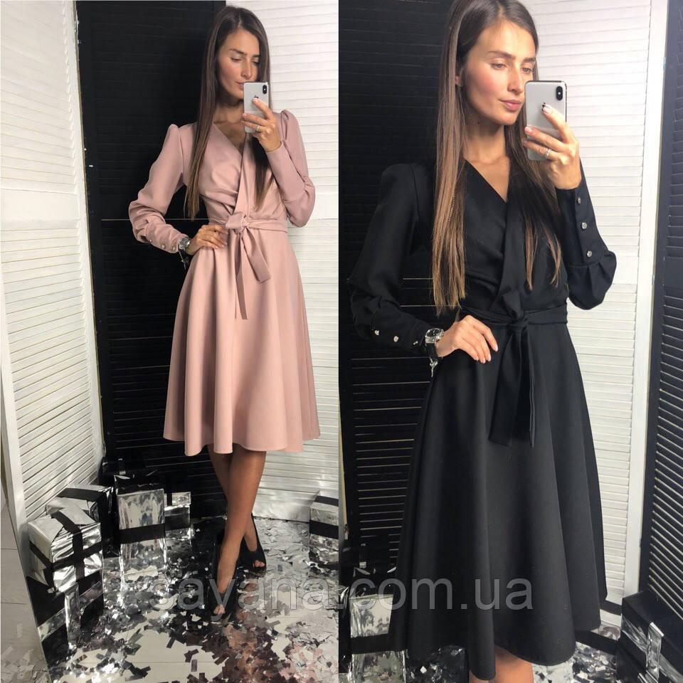 Женское платье классика с поясом в расцветках. ЛД-14-0119