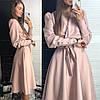 Женское платье классика с поясом в расцветках. ЛД-14-0119, фото 5