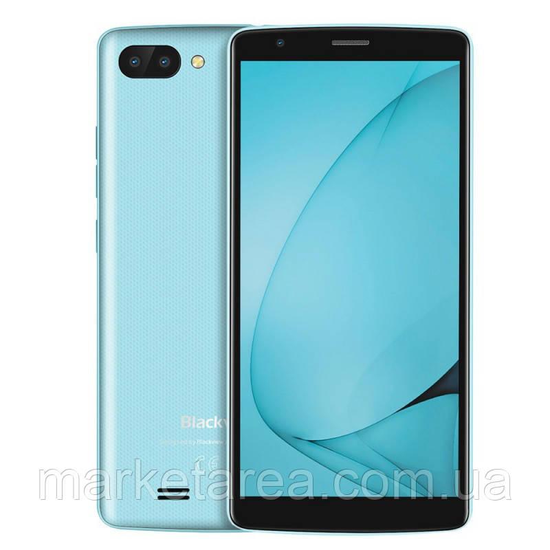 Смартфон блеквью с большим дисплеем и двойной камерой, тонкий, голубой на 2 сим карты Blackview A20 Blue