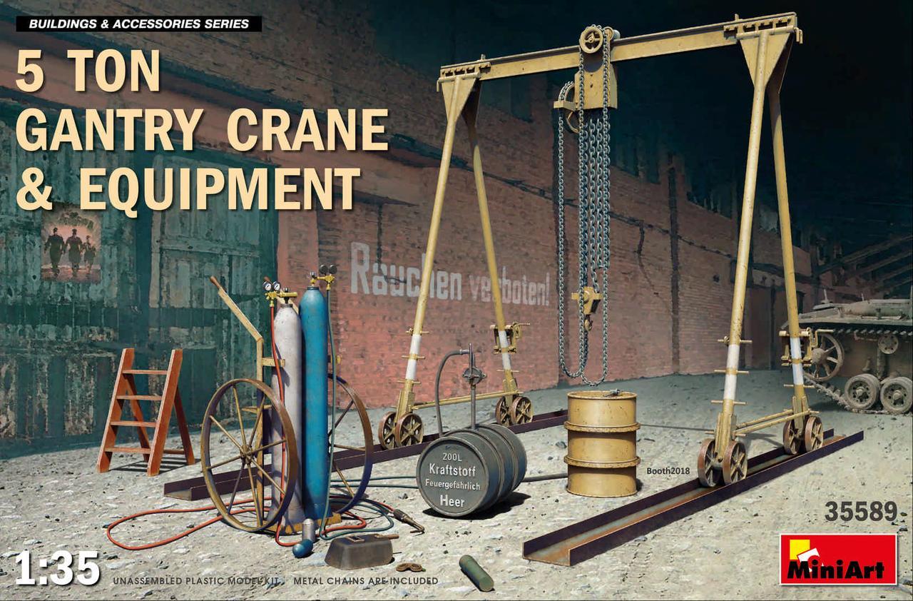 Портальный козловой 5-ти тонный кран с лебедкой и дополнительным оборудованием. 1/35 MINIART 35589