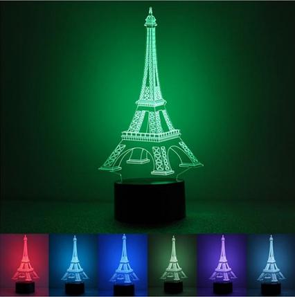 Настольный светильник с 3D эффектом 1091 (Башня) | 3D ночник, фото 2