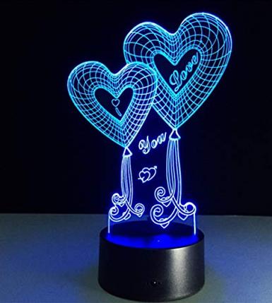 Настольный светильник с 3D эффектом 1111 | 3D ночник, фото 2
