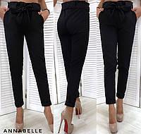 Женские модные брюки с поясом. Чёрные, 5 цветов.