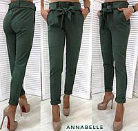 Женские модные брюки с поясом. Хаки, 5 цветов.