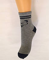 Детские хлопковые носки темно-серого цвета с рисунком