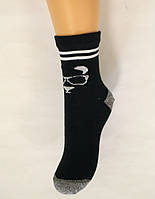 Детские хлопковые носки черного цвета с рисунком