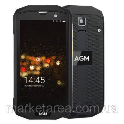 Смартфон противоударный, водонепроницаемый, черный с большим экраном на 2 сим карты AGM A8 Black 3/32 гб NFC