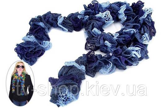 Шарф-боа с люрексом сине-голубой
