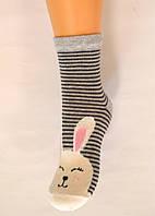 Детские хлопковые носки в полоску с зайцем