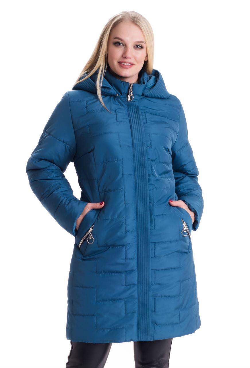 Малахитовая женская длинная куртка 52-70рр.
