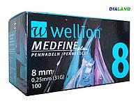 Иглы Wellion MEDFINE plus для шприц-ручек 0,25мм (31G)*8мм