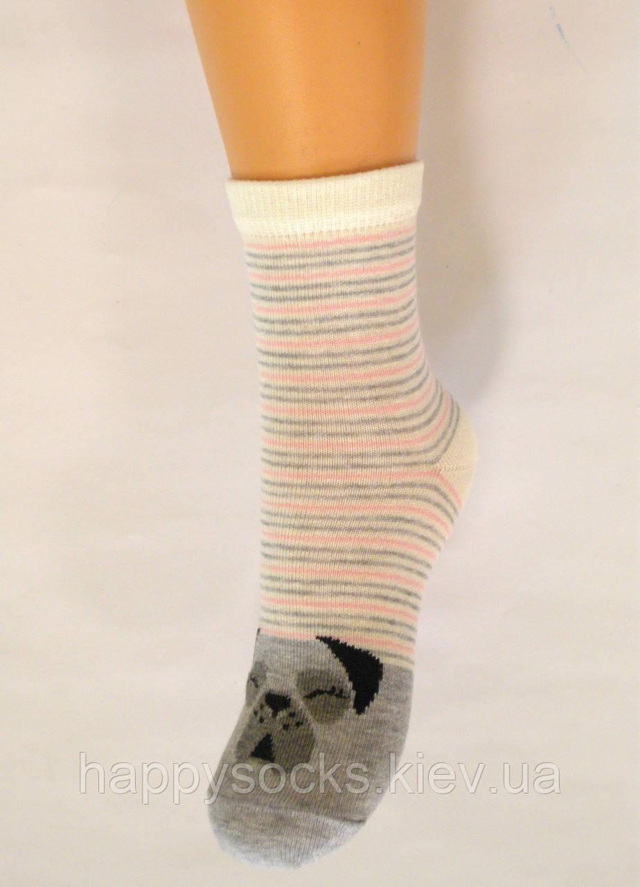 Хлопковые детские носки в полоску с мопсом