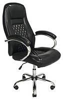 Компьютерное кресло руководителя Richman Флоренция кожзам черный хром на колесиках