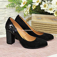 Женские туфли на устойчивом каблуке, цвет черный, фото 1
