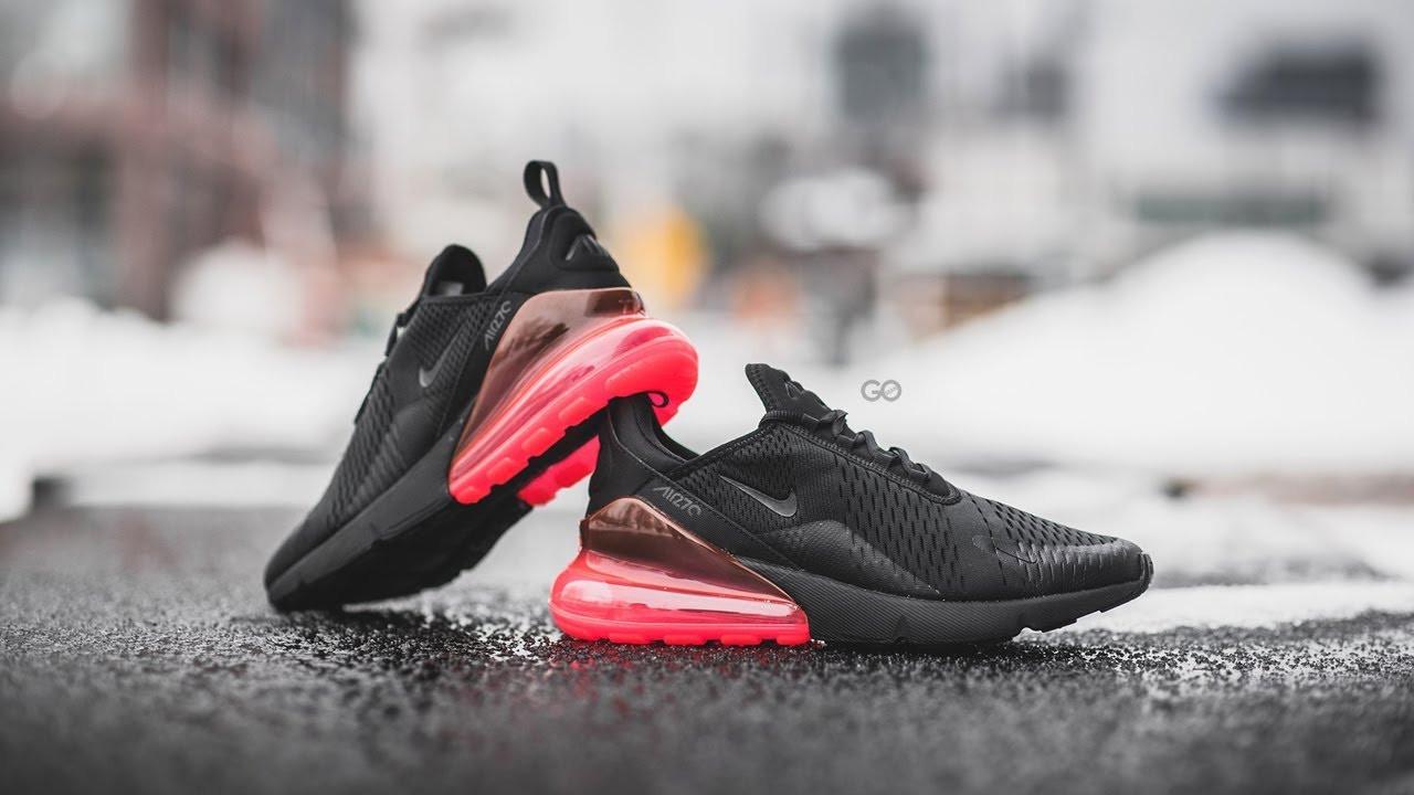 Кроссовки мужские в стиле Nike Air Max 270 Black and Red (Реплика ААА+)
