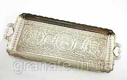 Турецкий поднос для подачи чая и кофе 36х14 см, цвет: серебро