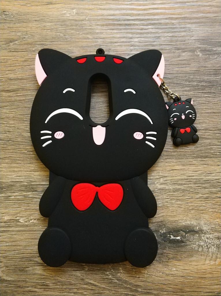 Объемный 3d силиконовый чехол для Xiaomi Redmi 5 Plus Кошечка черная
