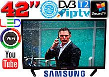 "ХИТ телевизоры  Samsung SmartTV 42"" Slim 4K 3840x2160 UHDTV,LED, IPTV, Android 9, T2, WIFI, USB Bluetooth"