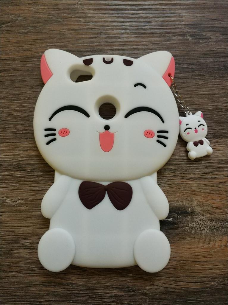 Объемный 3D силиконовый чехол для Xiaomi Redmi Note 5a Prime Кошечка белая