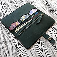 """Шкіряний портмоне """"Malachite"""" ручної роботи, натуральна шкіра, на кнопках магнітах, клатч, гаманець"""