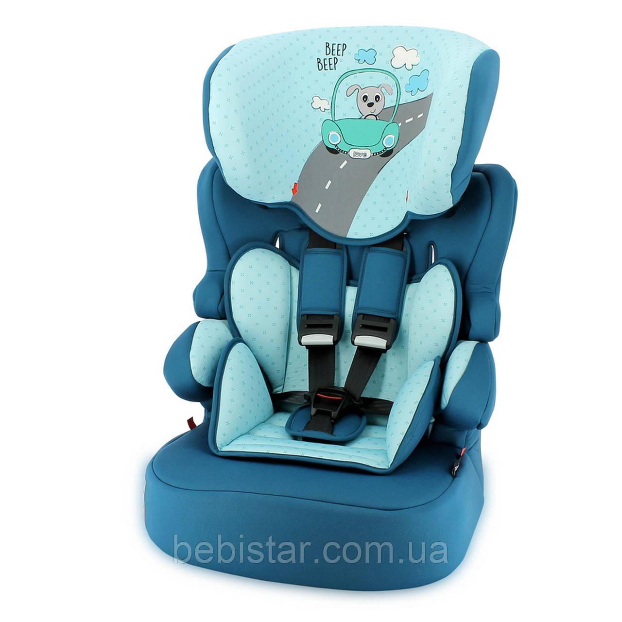 Автокресло синее Lorelli X-DRIVE PLUS 9-36 KG AQUAMARINE DOG DRIVER детям от 1 до 12 лет